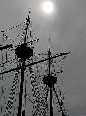 Mayflower II masts in the fog