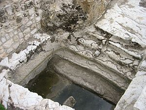A ritual bath from Temple times. One needed to...