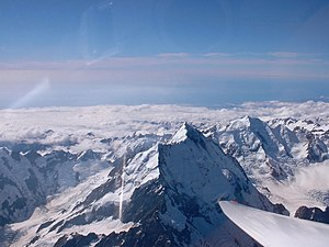 Aoraki/Mount Cook as seen from SSW flying at a...