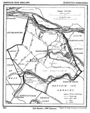Historic map of Ridderkerk, South Holland, the...