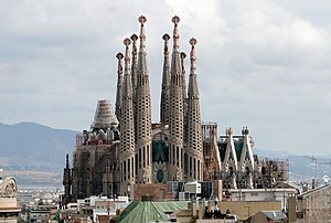 The Sagrada Familia viewed from Casa Milà, Bar...