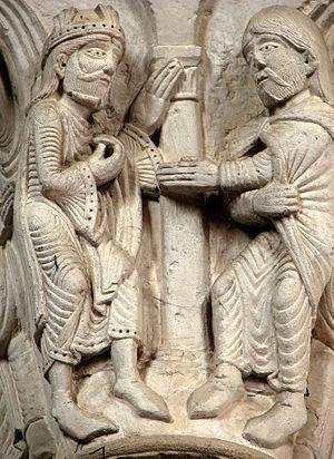 Français : Chapiteau du narthex (1140-1150), 2...
