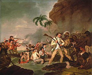 English: Death of Captain James Cook, oil on c...