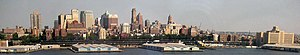 Panoramic view of the Downtown Brooklyn skyline.