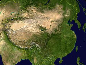 Greater China. Note the oval Tarim Basin, the ...