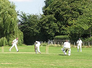 English: Cricket at Clavering: clean bowled Cl...