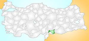 En verde la provincia de Gaziantep.