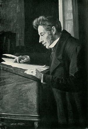 Soren Kierkegaard studying