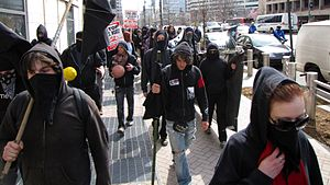 Black bloc near the World Bank in Washington, ...
