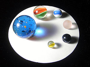 Marbles of different sizes and colors.
