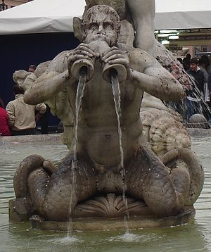 One of the tritons sculpted by Giacomo della P...