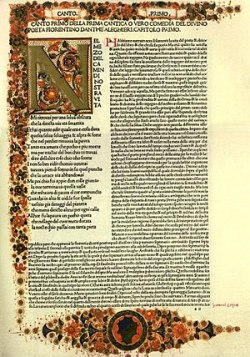 First page of an early printed edition of Dant...