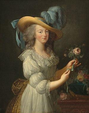 Marie Antoinette in muslin dress and wide-brim...