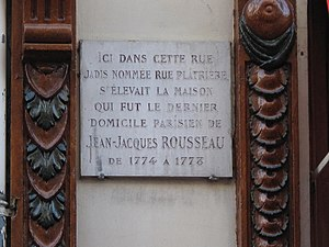 English: Plaque at the place of the house (now...