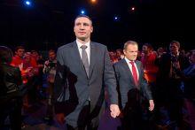 Tusk with Ukrainian politician Vitali Klitschko, 22 March 2014