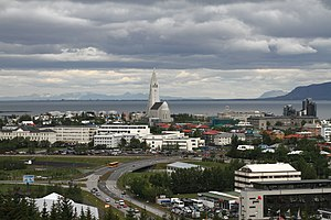 English: Reykjavik, Iceland. View from the top...