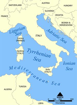 Tyrrhenian Sea.