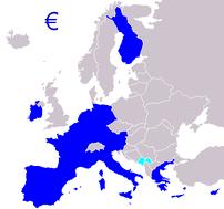 Zone euro 2008 ; bleu foncé : de jure ; bleu p...
