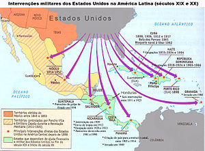 English: Map showing U.S. military interventio...