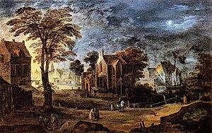 Joos de Momper (II) - Village at Full Moon - W...