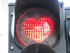English: Heart shaped traffic sign Nederlands:...