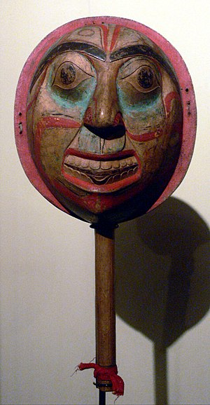 Rattle with sun face; Bella Bella (Heiltsuk); ...