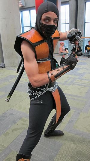 A cosplayer portaying Scorpion from Mortal Kom...