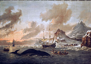 English: Dutch whalers near Spitsbergen.