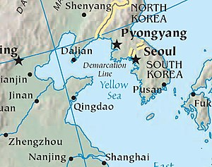 Map of Yellow Sea. Cropped from CIA World Fact...