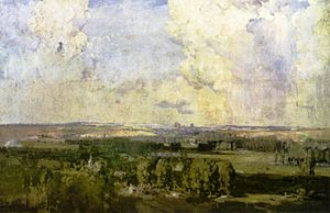 """Amiens, the key to the west"" by Arthur Streeton, 1918."