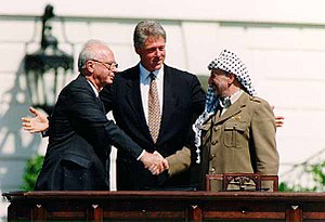 Israeli Prime Minister Yitzhak Rabin, U.S. pre...