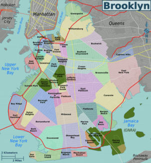 Local Bklyn SEO Consultants site, with colorful Brooklyn neighborhoods map