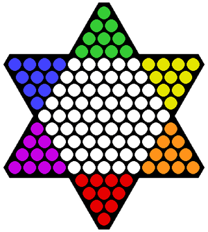 Starting position for Chinese checkers.