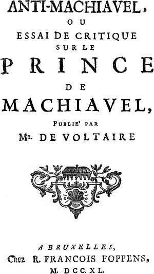 Title page from Anti-Machiavel (1740) by Frede...