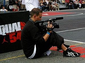 Greg Tanner filming at the Quai 54 streetball ...