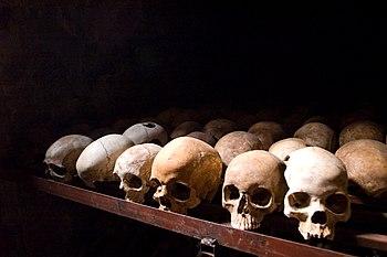 English: Nyamata Memorial Site, skulls. Nyamat...