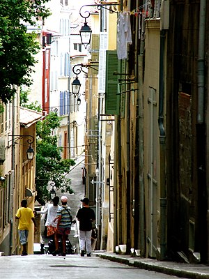 English: A street in Marseille, France.