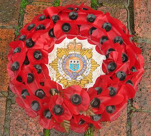 Poppy wreath at war memorial in London (Stockwell)