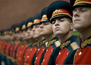 The Russian military honor guard welcomes U.S....