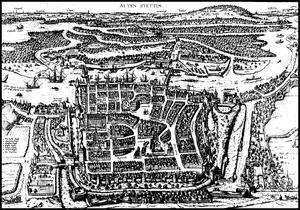 Bruin and Hogenberg: Alten Stettin 1575 Polski...