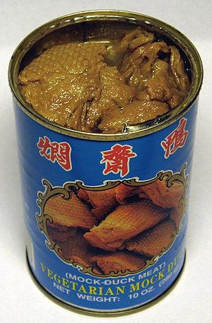 "Opened can of vegetarian ""mock duck""..."