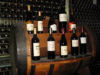 English: Bottles of wine in a cellar in Haro (...