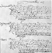 Graduation registry for Descartes at the Collège Royal Henry-Le-Grand, La Flèche, 1616.