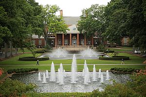 Furman University Library and fountains