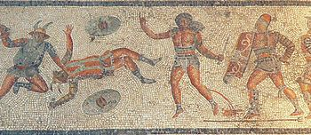 Gladiators in the Spectacle from the Zliten mosaic.