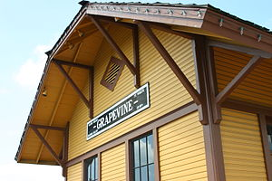 English: The Grapevine's Train Station on Main...