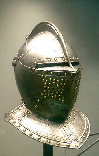 English: Helmet from France, 1610-1620. Artifa...