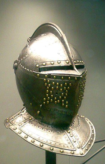 English: Helmet from France, 1610-1620. Artifa...