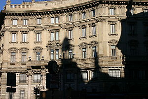 Shadows on the Palazzo del Credito Italiano pa...