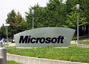 The Microsoft sign at the entrance of the Germ...